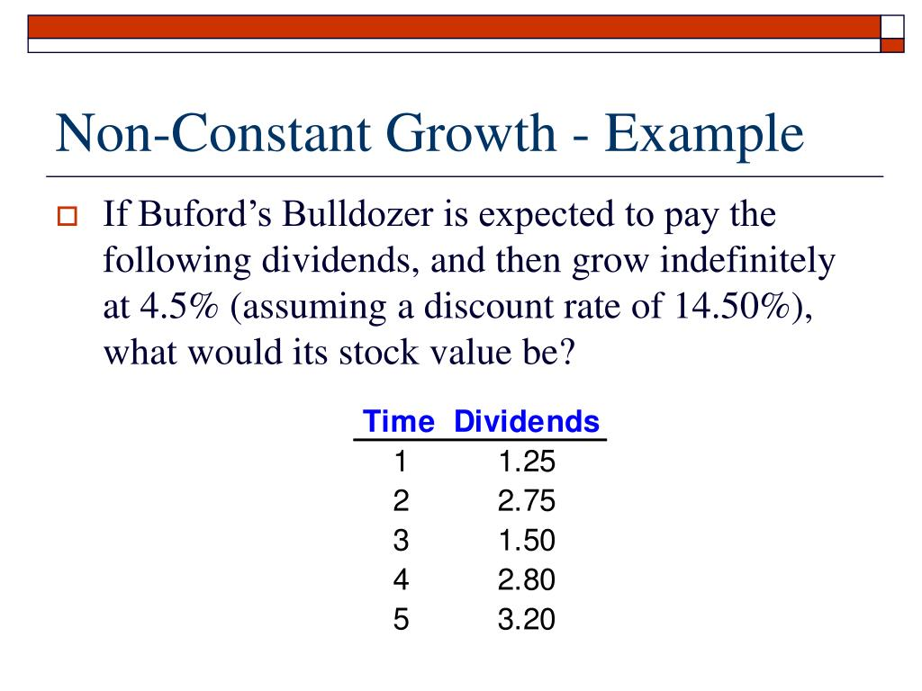 Non-Constant Growth - Example