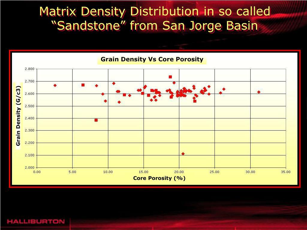 "Matrix Density Distribution in so called ""Sandstone"" from San Jorge Basin"