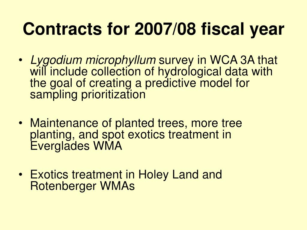 Contracts for 2007/08 fiscal year