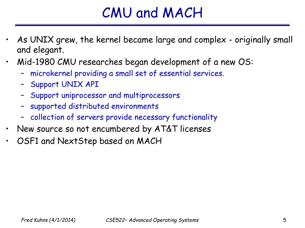 CMU and MACH