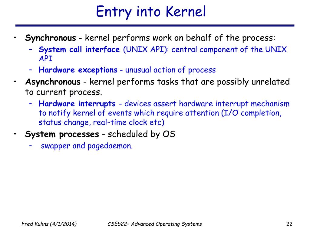 Entry into Kernel