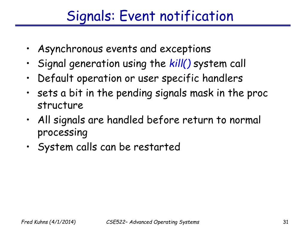 Signals: Event notification