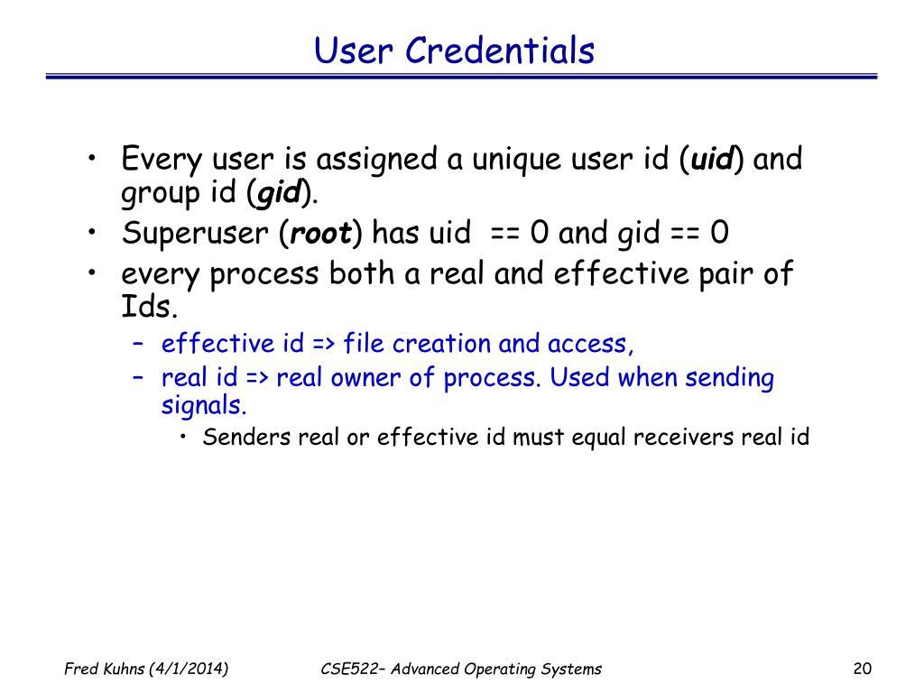 User Credentials
