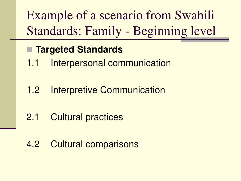 Example of a scenario from Swahili Standards: Family - Beginning level