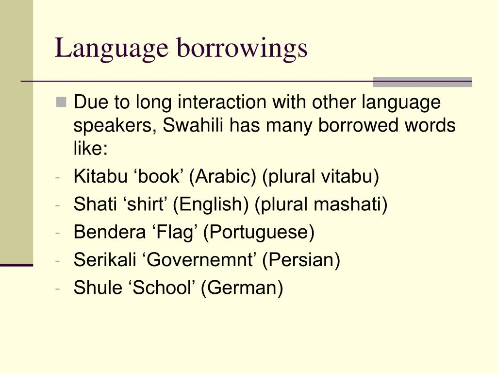Language borrowings