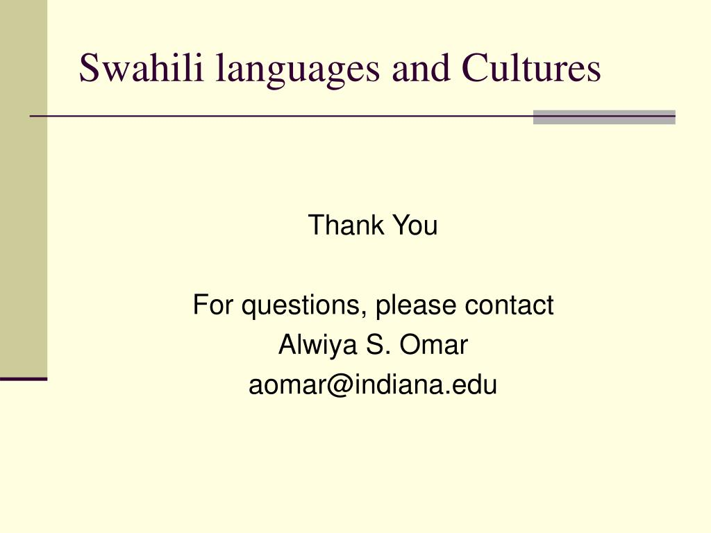 Swahili languages and Cultures