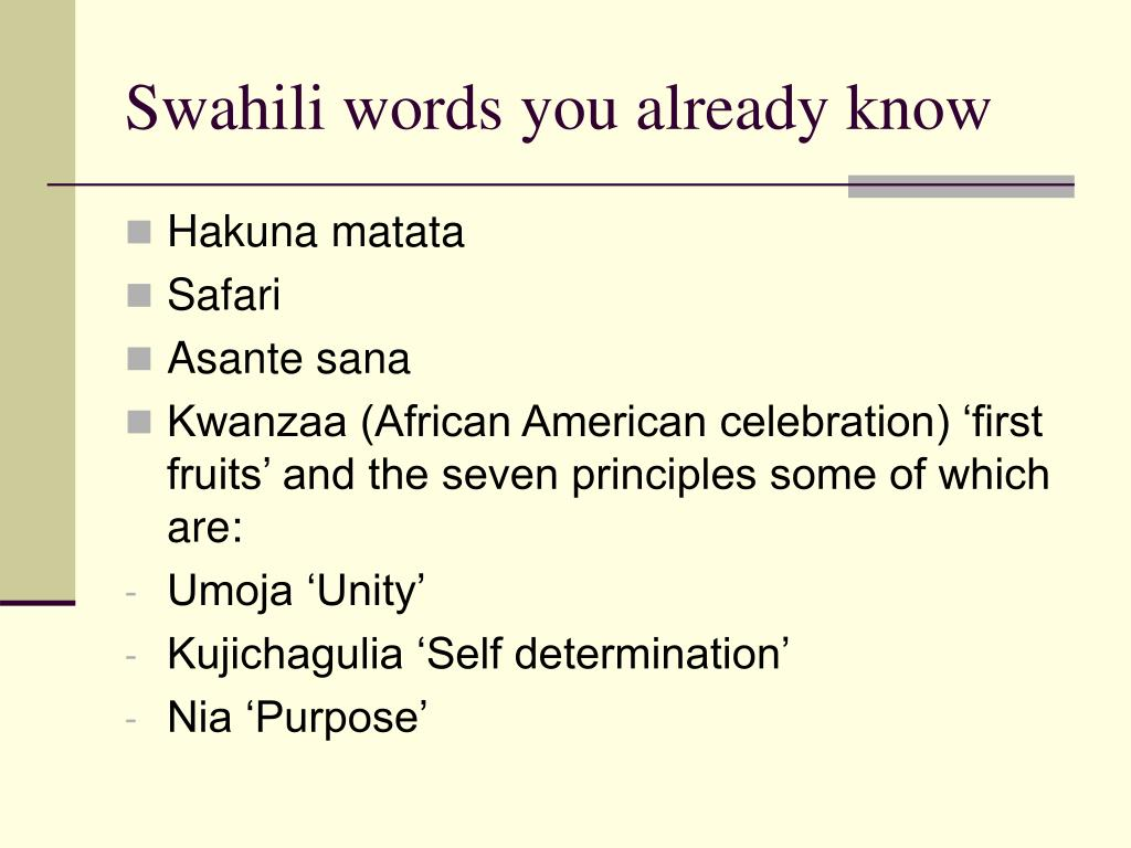 Swahili words you already know