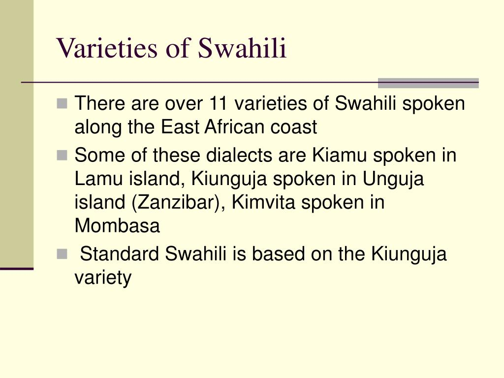 Varieties of Swahili