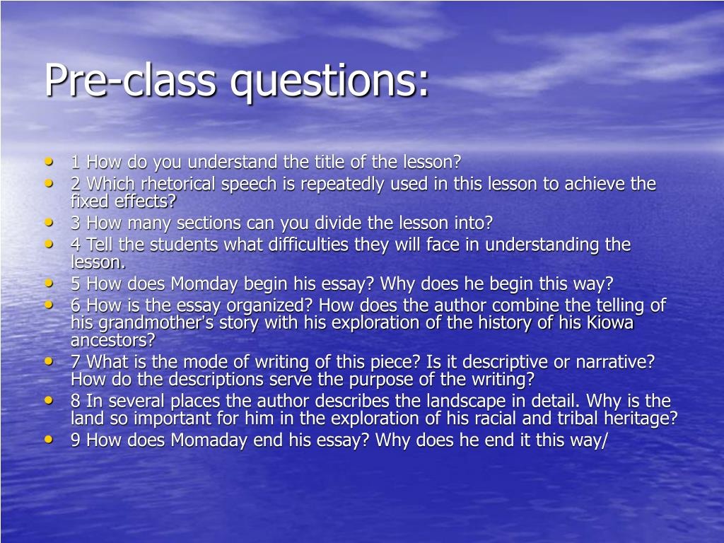 Pre-class questions: