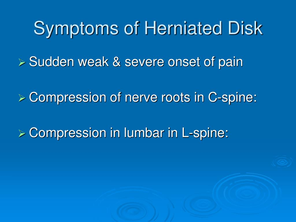Symptoms of Herniated Disk