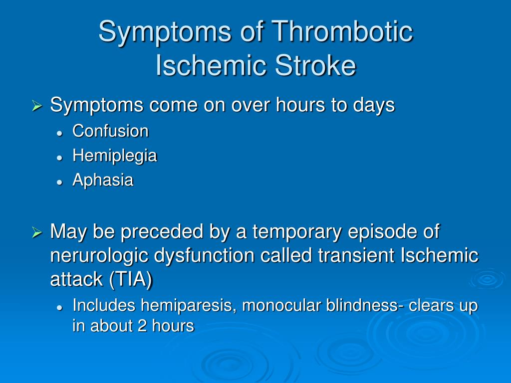 Symptoms of Thrombotic