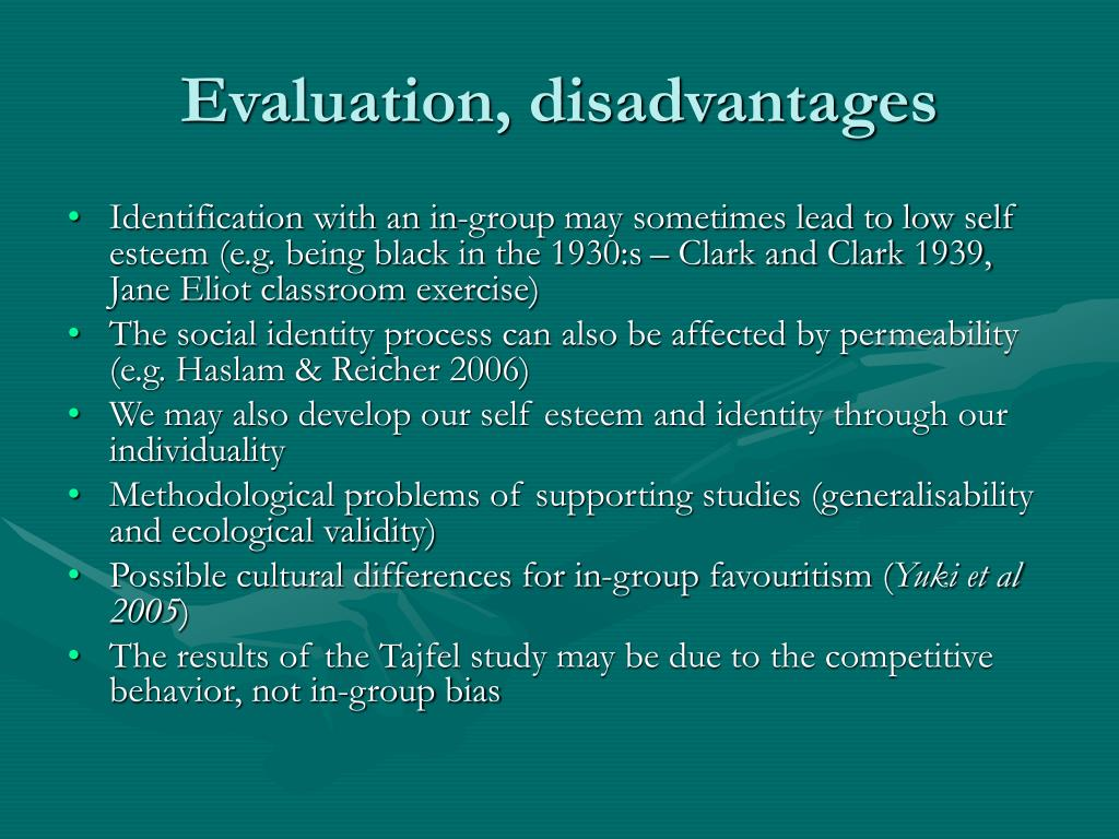 billigs evaluation of tajfel theory of Of this re-evaluation of identity, changes are underway in south african society in the way  and embedded intergroup theory tajfel and turner's (1979) social identity and self categorisation theory and alderfer's (1987.