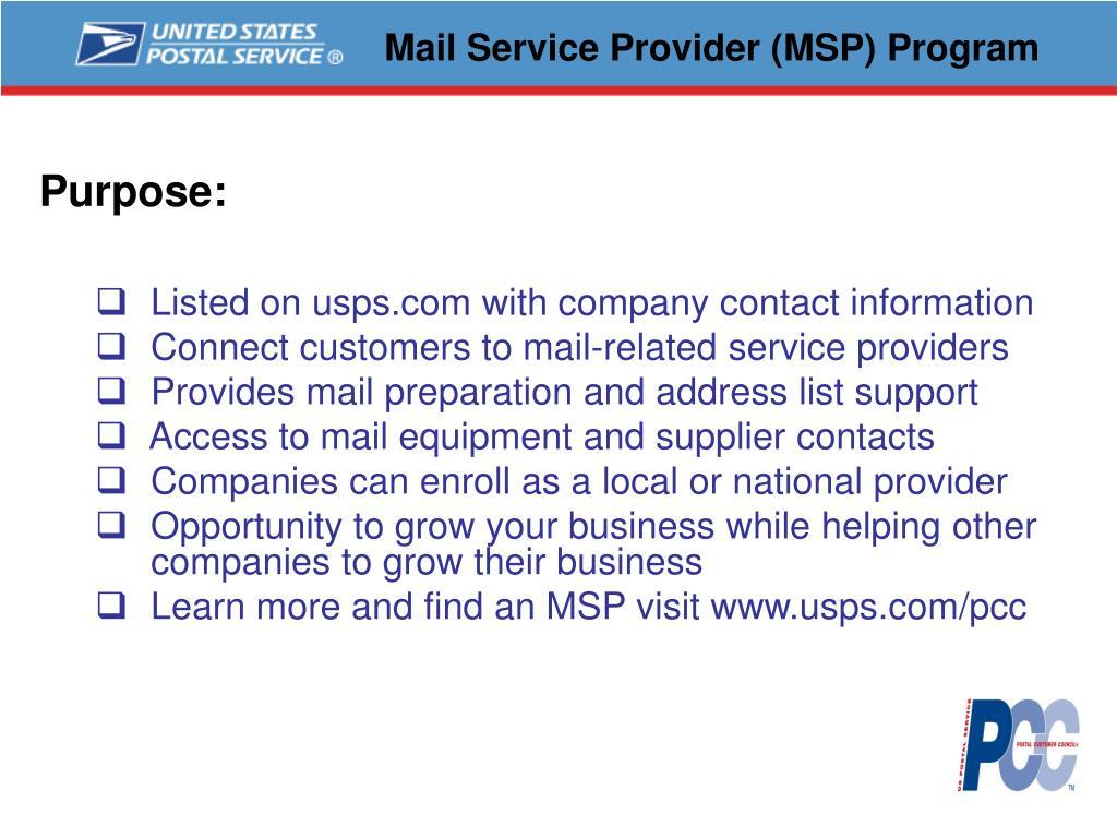 Mail Service Provider (MSP) Program