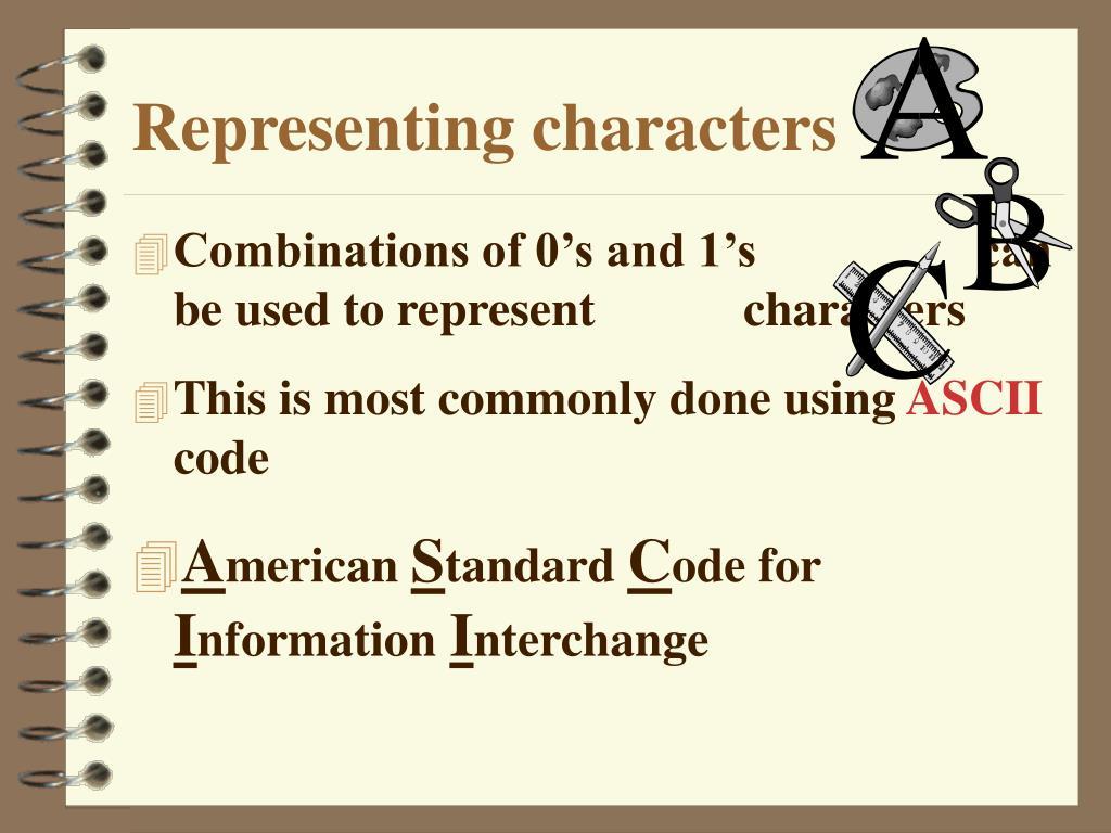 Representing characters