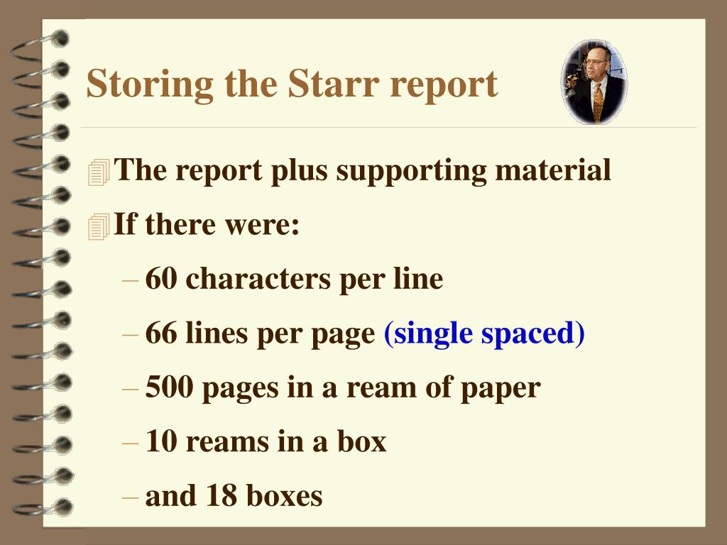Storing the Starr report