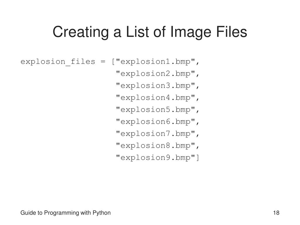 Creating a List of Image Files