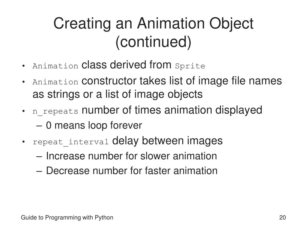 Creating an Animation Object (continued)