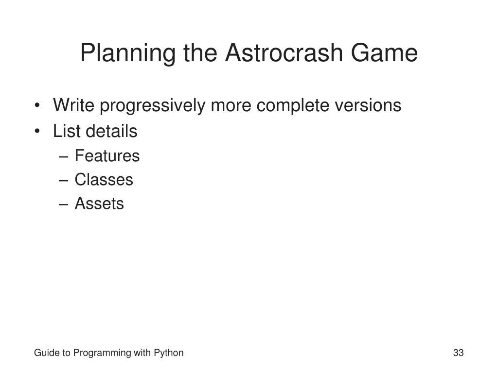 Planning the Astrocrash Game