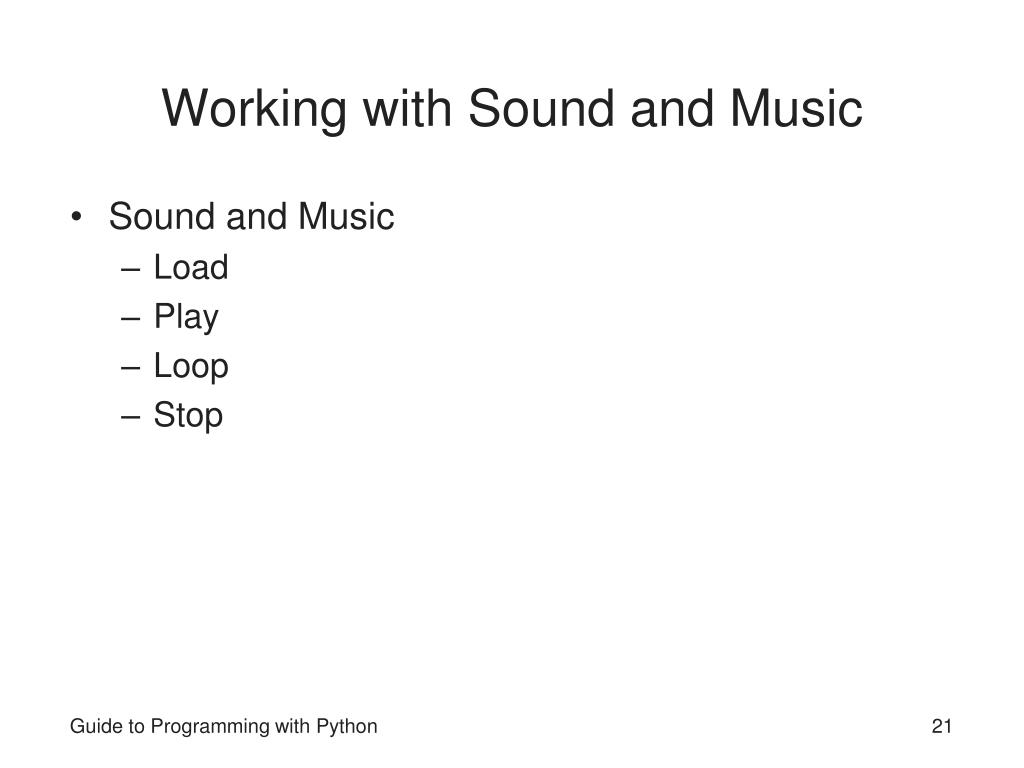 Working with Sound and Music
