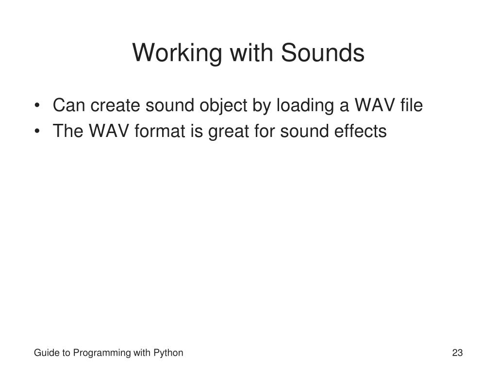 Working with Sounds