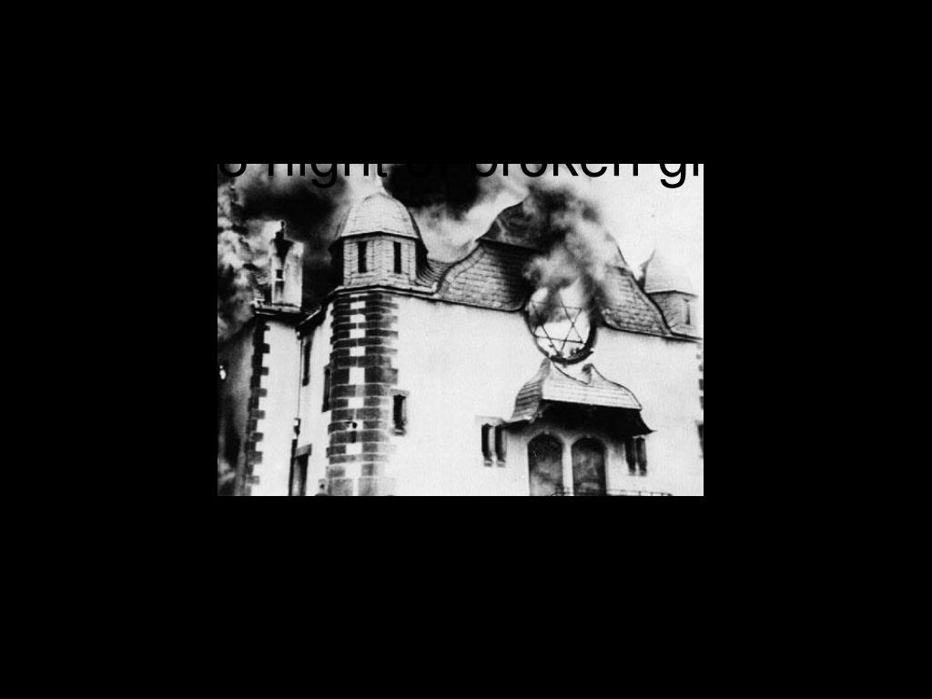 To acceptable public violence – burning on kristallnacht (Nov 1938 night of broken glass)
