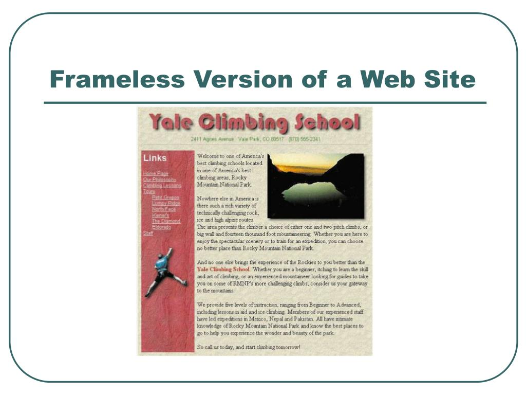 Frameless Version of a Web Site