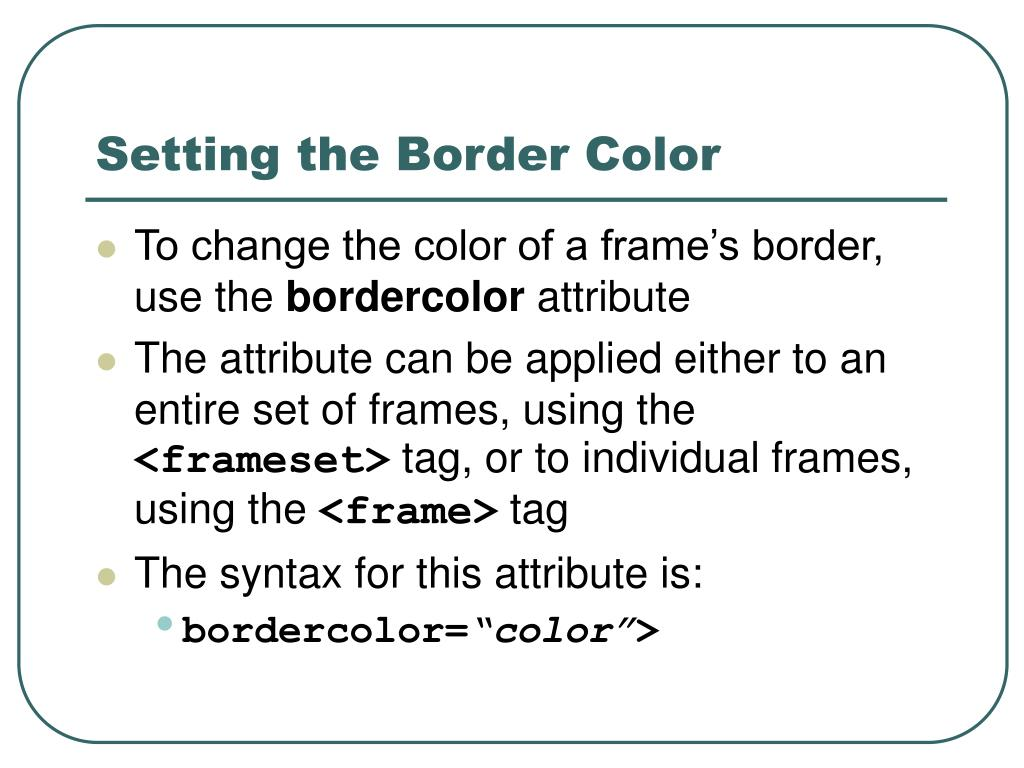 Setting the Border Color