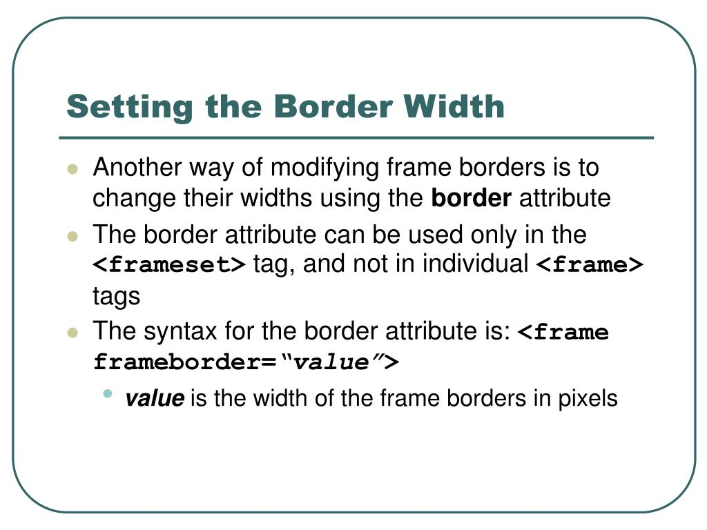 Setting the Border Width