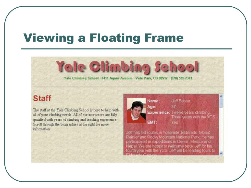 Viewing a Floating Frame