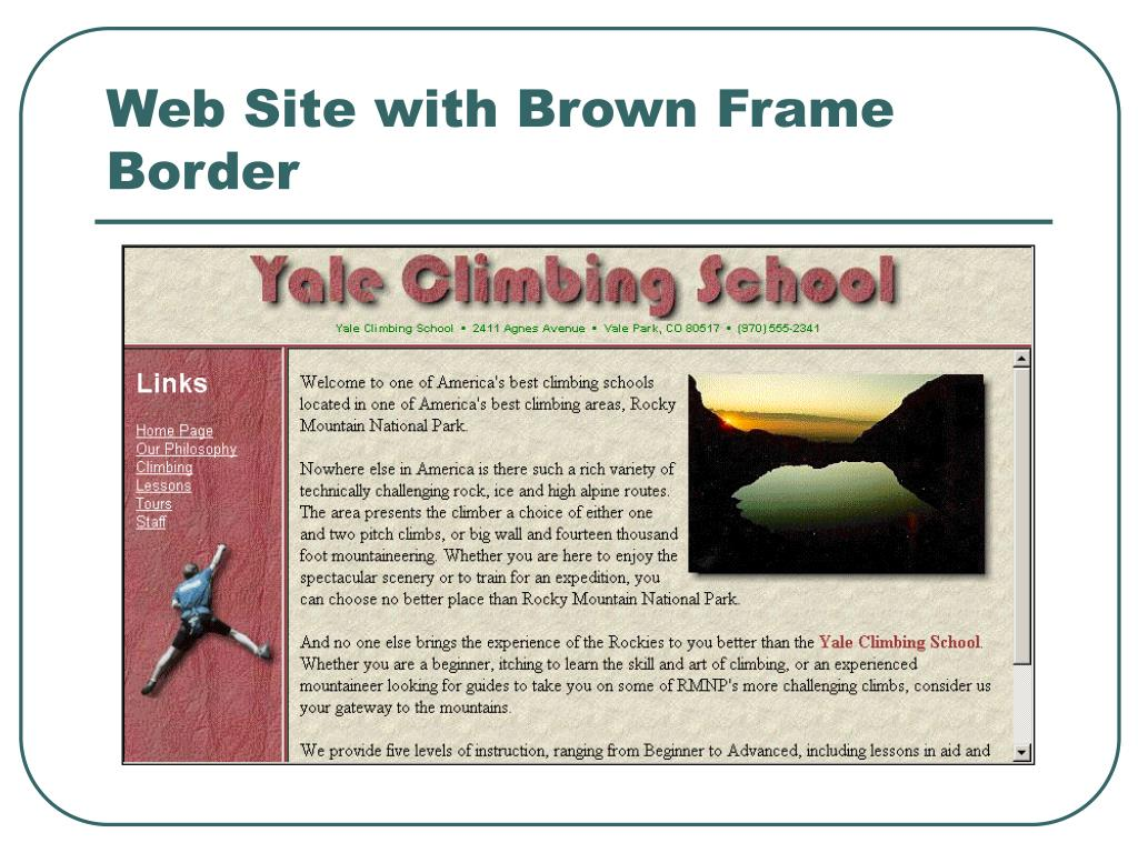 Web Site with Brown Frame Border
