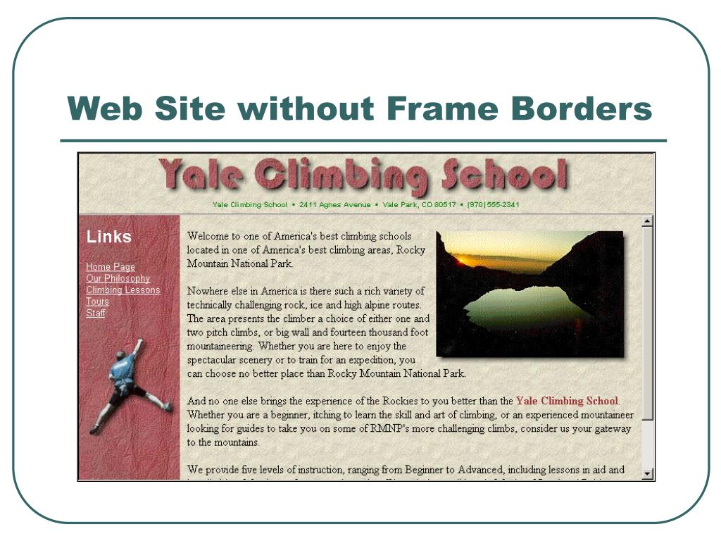 Web Site without Frame Borders