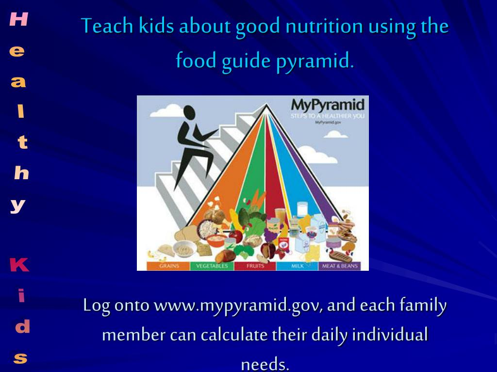 Teach kids about good nutrition using the food guide pyramid.