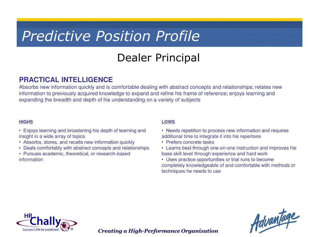 Predictive Position Profile
