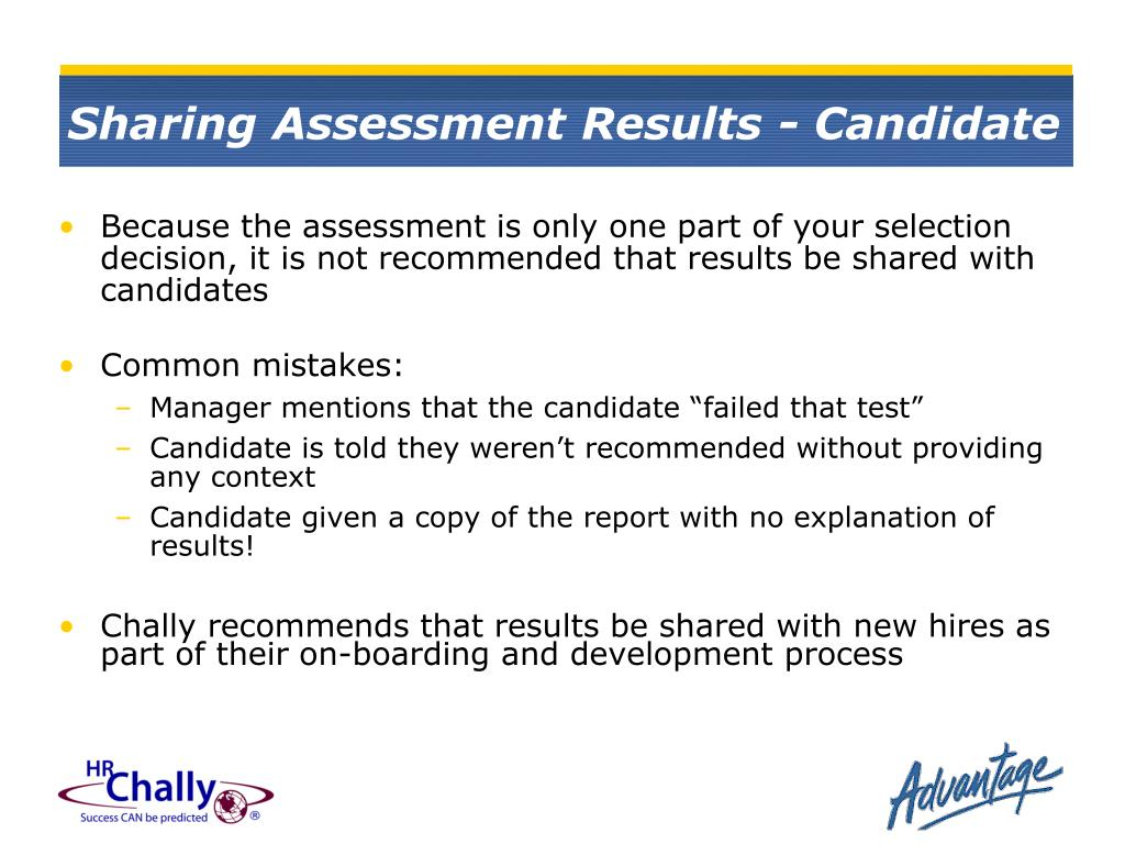 Sharing Assessment Results - Candidate