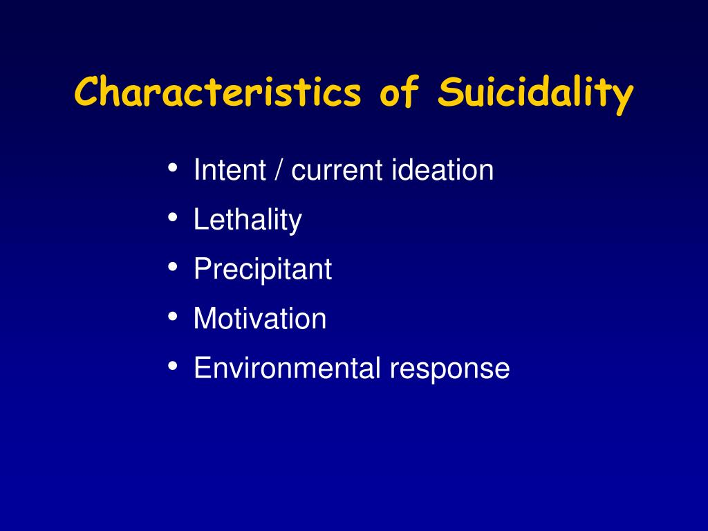 Characteristics of Suicidality