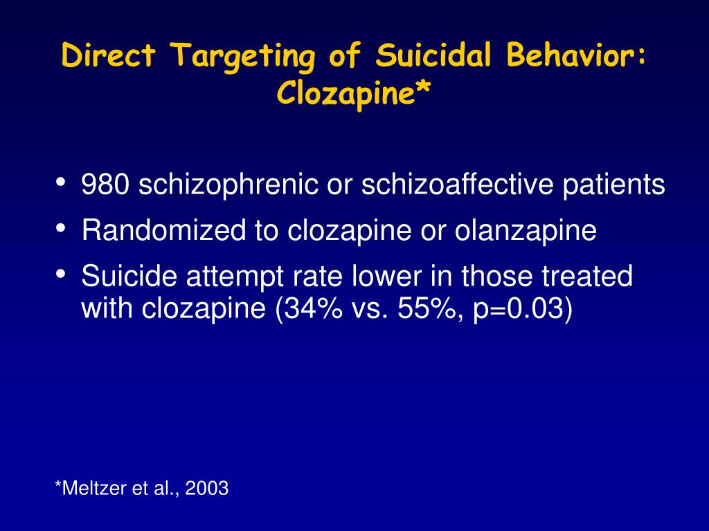 Direct Targeting of Suicidal Behavior: Clozapine*