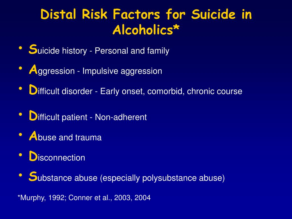 Distal Risk Factors for Suicide in Alcoholics*