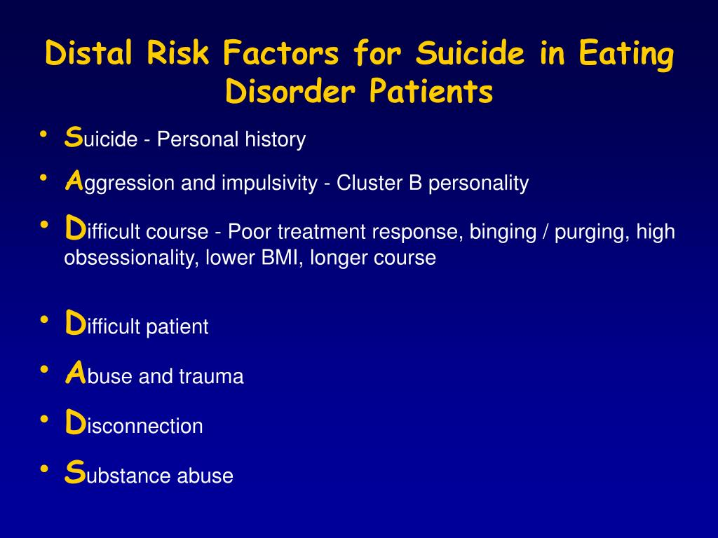 Distal Risk Factors for Suicide in Eating Disorder Patients