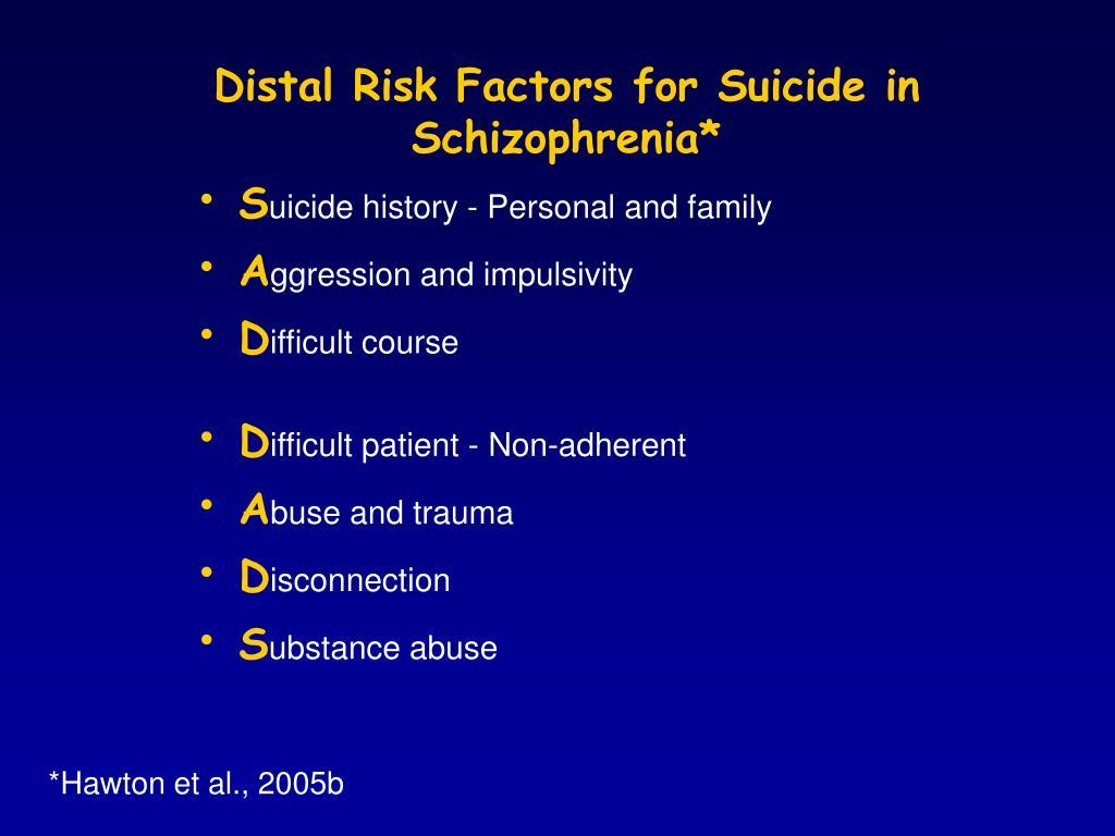 Distal Risk Factors for Suicide in Schizophrenia*