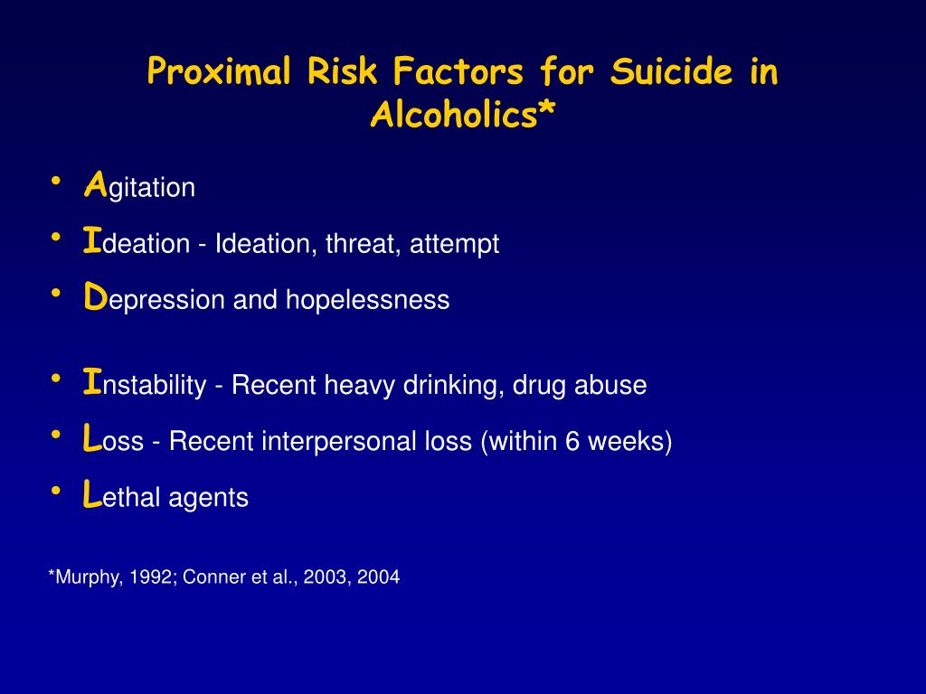 Proximal Risk Factors for Suicide in Alcoholics*