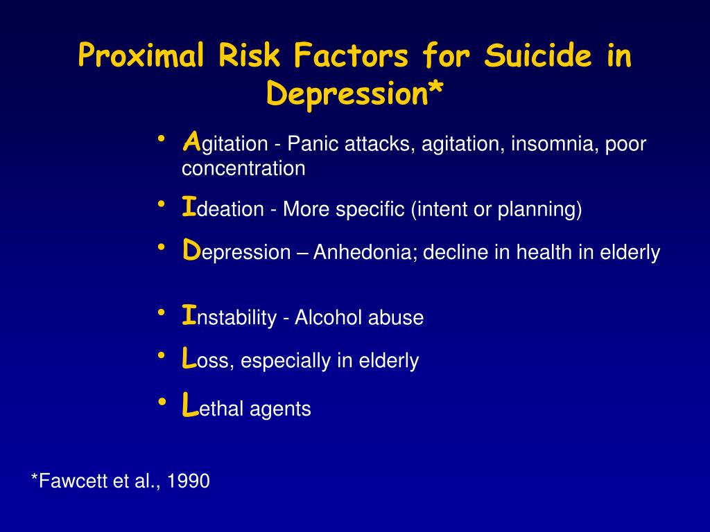 Proximal Risk Factors for Suicide in Depression*