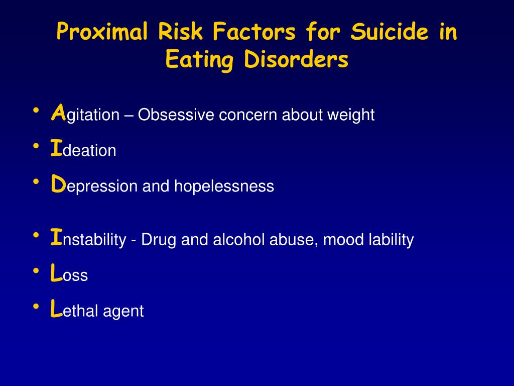 Proximal Risk Factors for Suicide in Eating Disorders