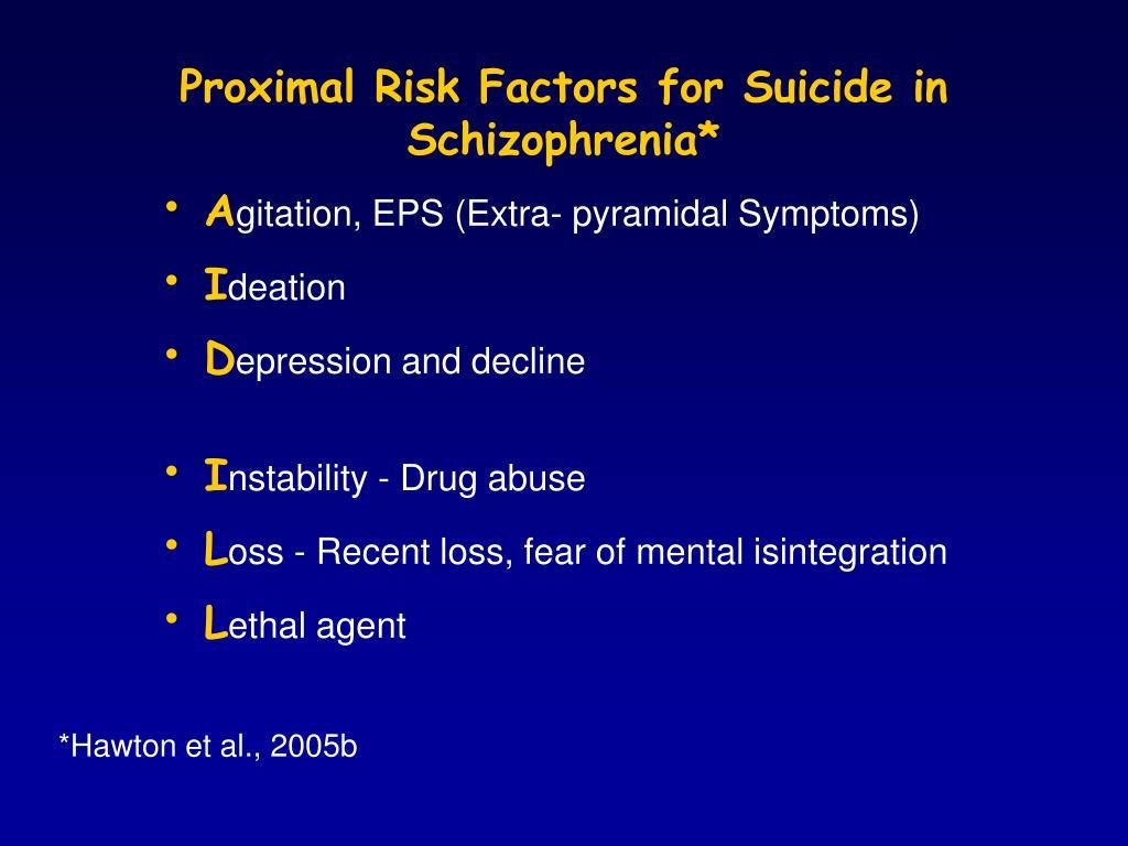 Proximal Risk Factors for Suicide in Schizophrenia*