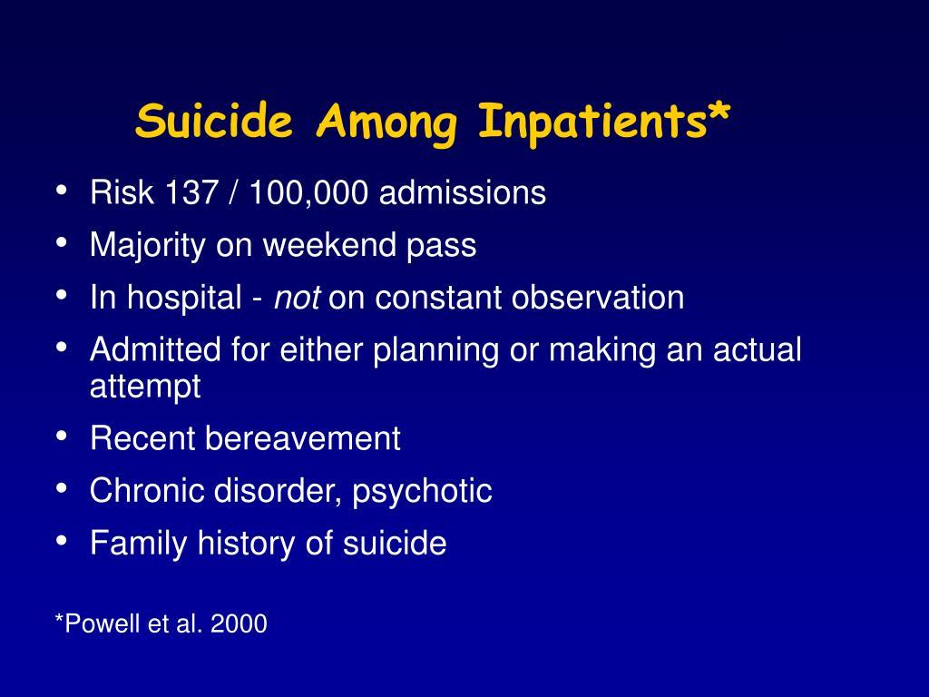 Suicide Among Inpatients*