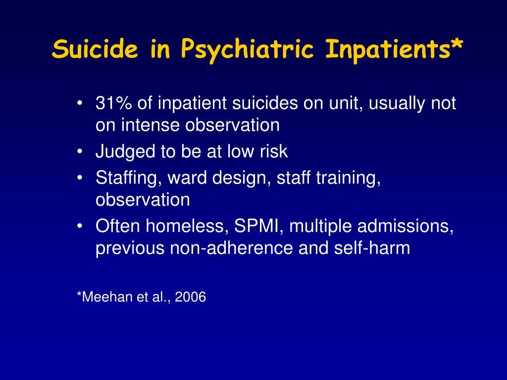 Suicide in Psychiatric Inpatients*