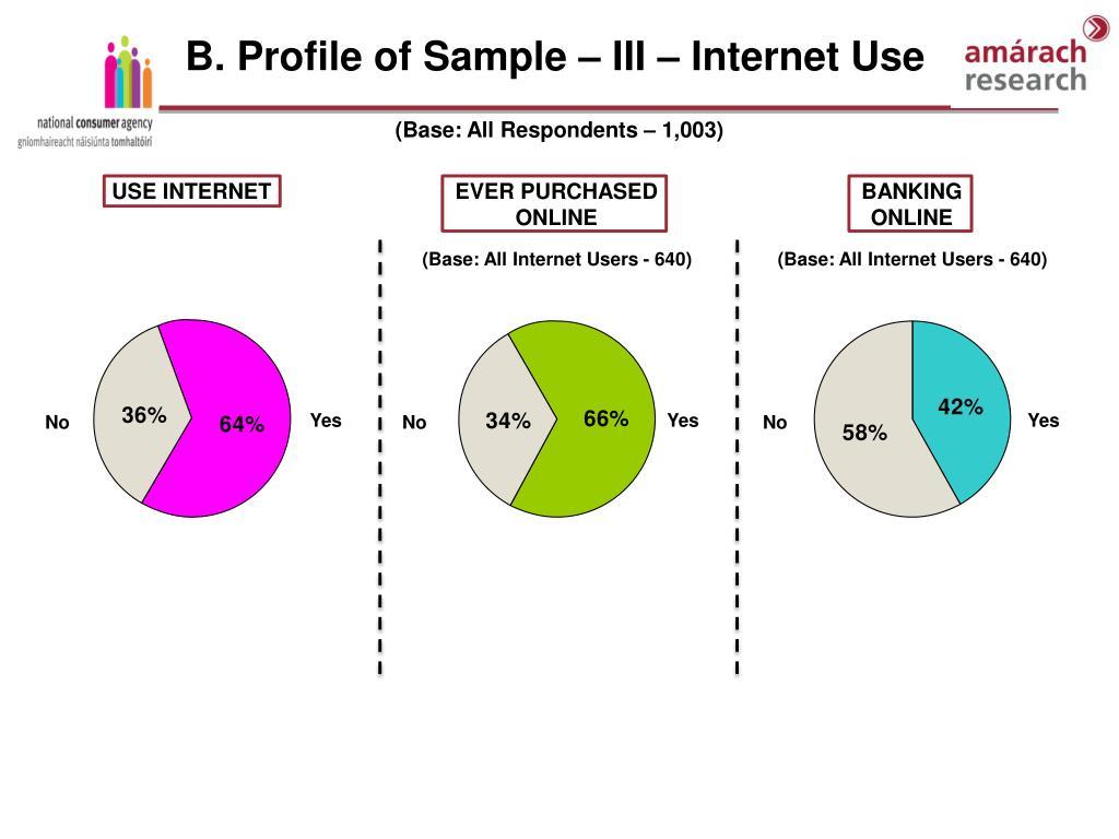 B. Profile of Sample – III – Internet Use
