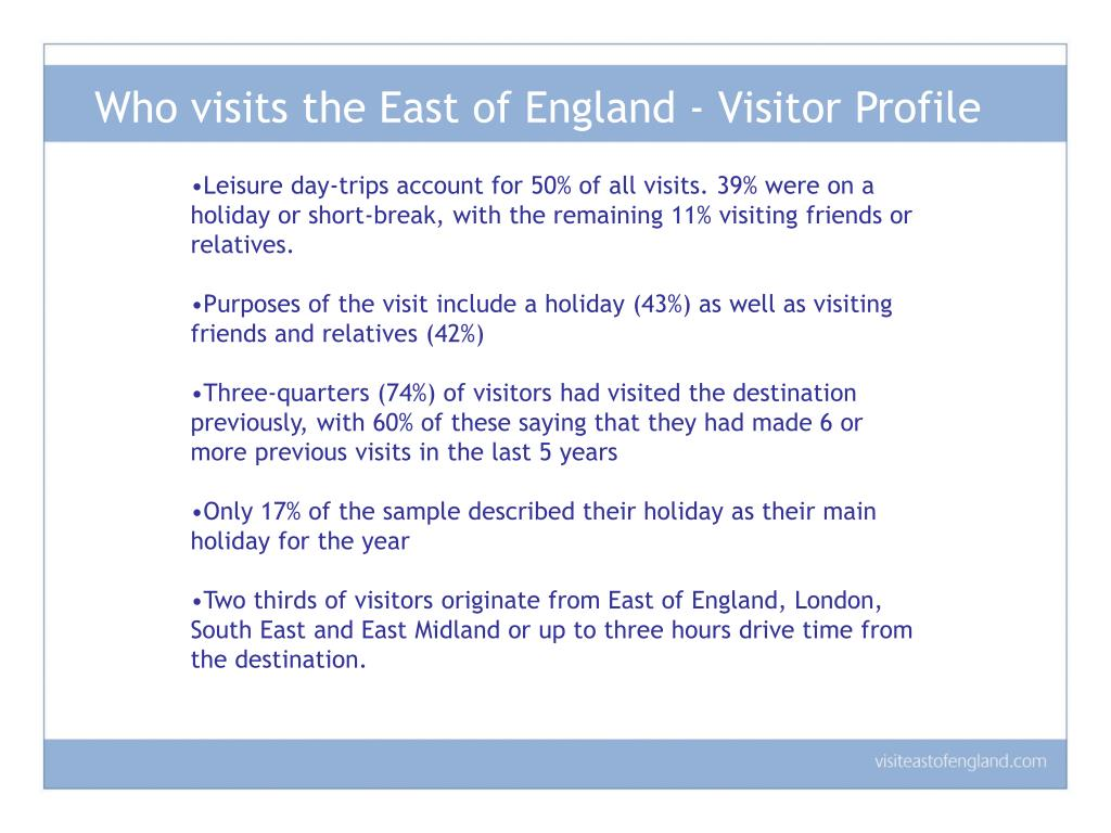 Who visits the East of England - Visitor Profile