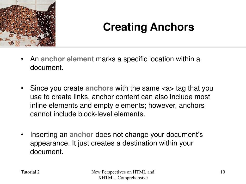 Creating Anchors