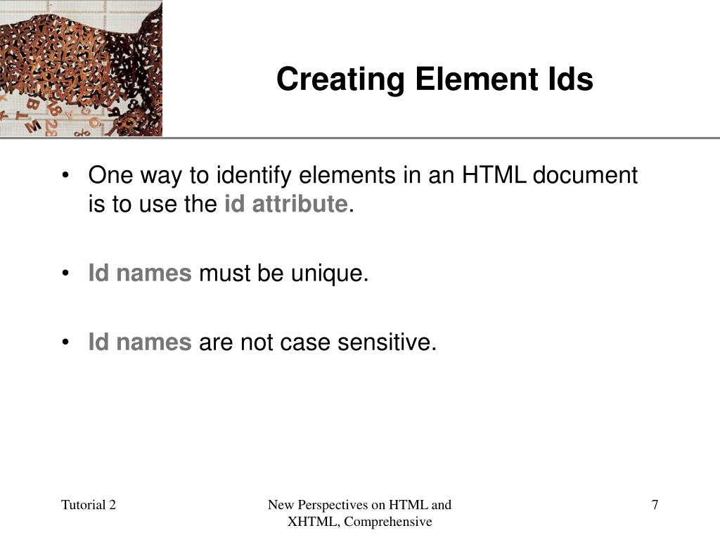 Creating Element Ids