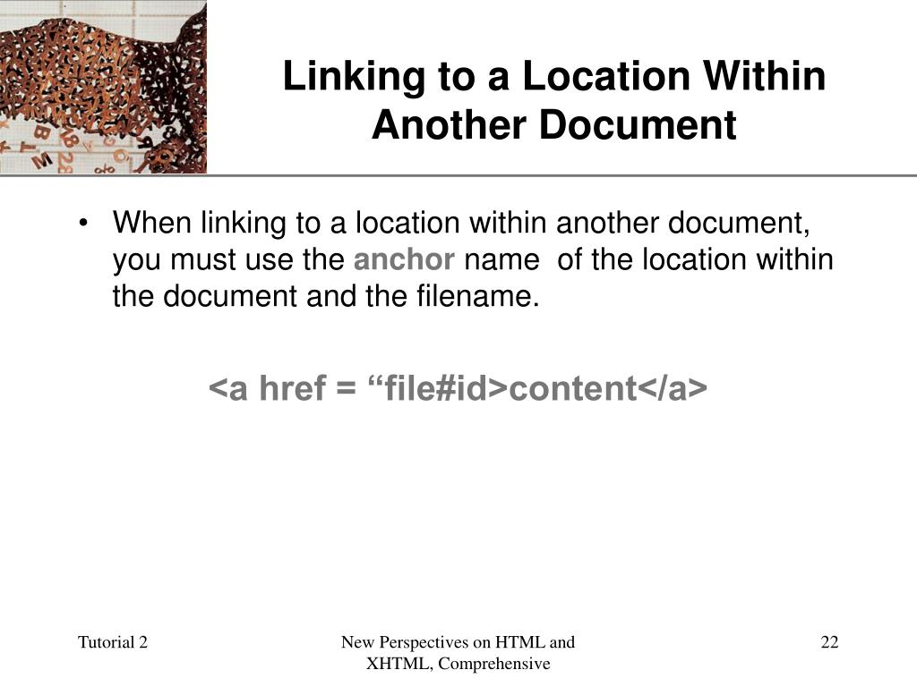 Linking to a Location Within Another Document